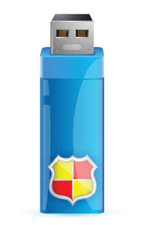 shiled: Usb flash memory with shield illustration design Illustration