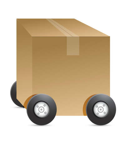 removals boxes: brown package car figure illustration on white background