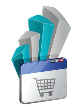 shoppingtrolley: Internet browser window with Shopping Cart and graph illustration Illustration