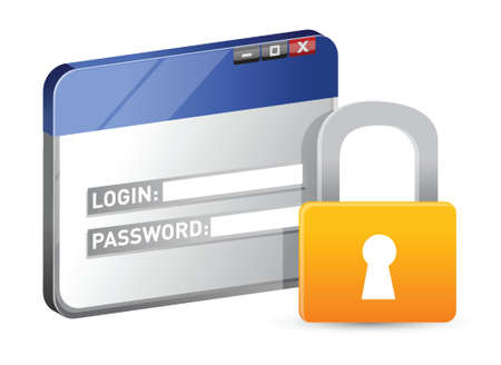 secure: secure website login using SSL protocol illustration design
