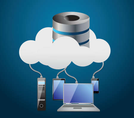 Cloud computing concept illustration design over a white background Vector