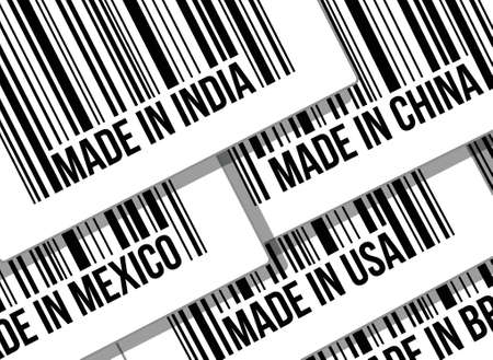 made in china: barcode, trade war, business concept illustration design over white Illustration