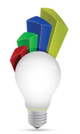 lightbulb graph illustration design over a white background Stock Vector - 17363113