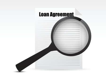 대출 계약 및 돋보기, 비즈니스 개념 그림 디자인