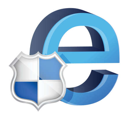 ie: Shield with symbol for internet. illustration design Illustration