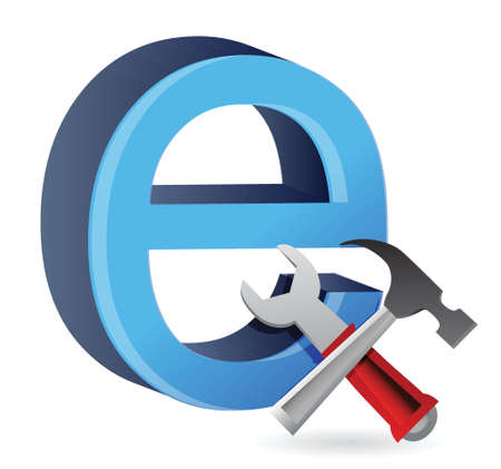ie: tools with symbol for internet. illustration design Illustration