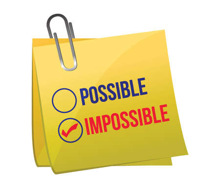 possible: possible against impossible illustration design over a white background