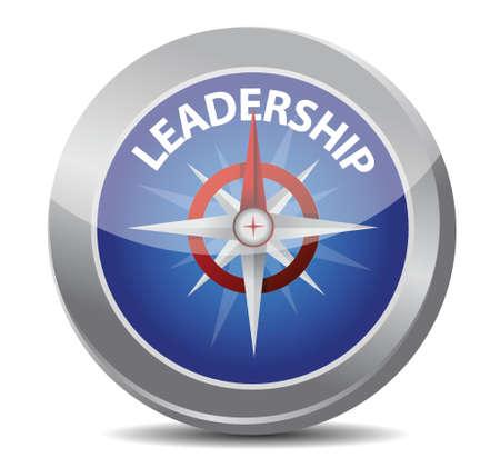 白でコンパス イラスト デザインによって示される赤いリーダーシップ単語