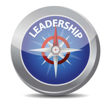 successful leadership: leadership red word indicated by compass illustration design over white Illustration