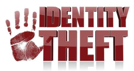 手はアイデンティティの盗難のテキスト印刷。イラスト デザイン  イラスト・ベクター素材