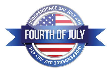 forth of july. us seal and banner illustration design