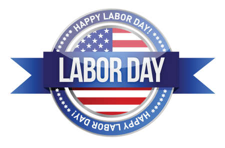labor day. us seal and banner illustration design Vector