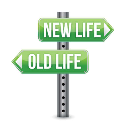 time change: New or old life sign illustration design over white