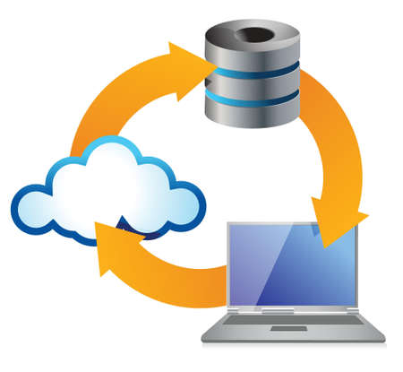 data backup: Cloud Computing Concept with Computer illustration design over white Illustration