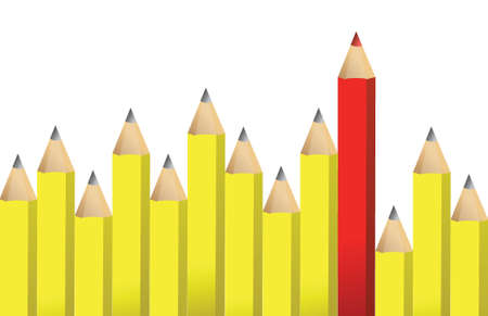 Yellow pencils and one red crayon illustration design over white Stock fotó - 17417388