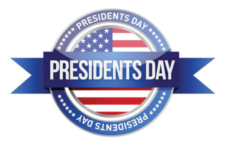 president's: presidents day. us seal and banner illustration design
