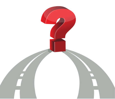 Question mark and network of roads illustration design Vector