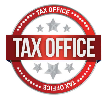 tax form: rubber stamp marked with tax office illustration design over white