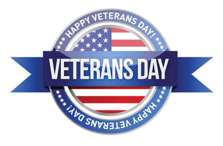 veterans day: veterans day. us seal and banner illustration design