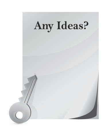 Idea conception with key design over a white background