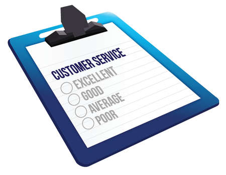 tickbox: Questionnaire of customer service feedback icons illustration design over a white background