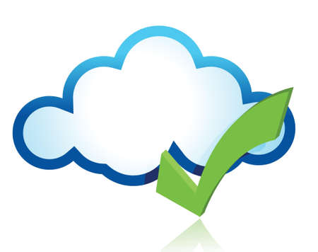 Blue cloud with green tick mark illustration design Stock Vector - 17476257