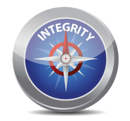 integrity compass concept illustration design over white Vector