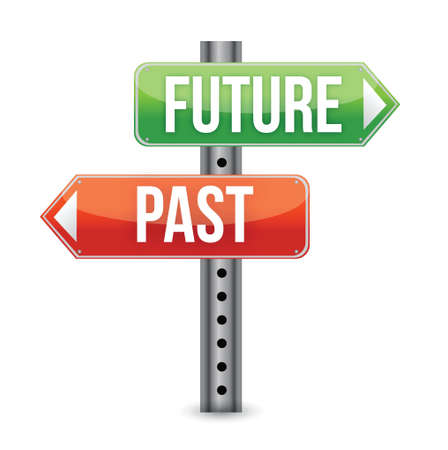 past: future or past sign illustration design over white