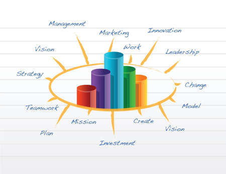 stakeholders: Business model on a notepad illustration design over white