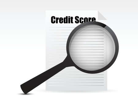 rating: Credit Score and Magnifying Glass design over a white background