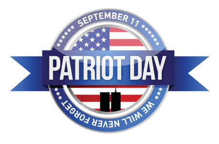patriot day. us seal and banner illustration design Vector