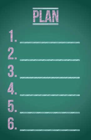 the list plan: plan list illustration design graphic on a blackboard