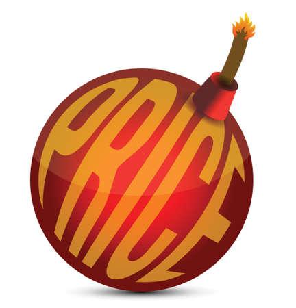 bomb price: sales illustration - price bomb design over a white background