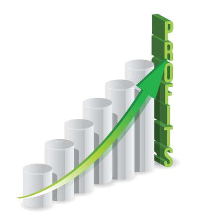 net worth: Profit graph business illustration design over a white background Illustration