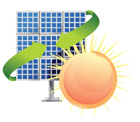 source: Solar panel and batteries with sun illustration Illustration