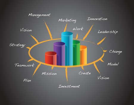 Successful business concept illustration design over a blackboard Vettoriali