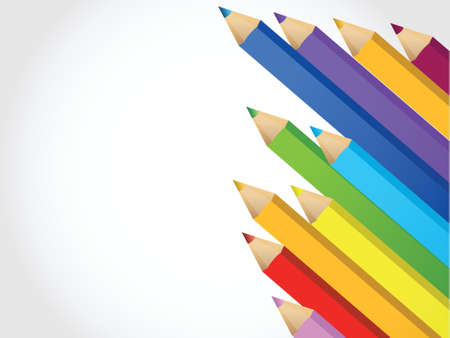 Colour pencils illustration design over a white background Vector