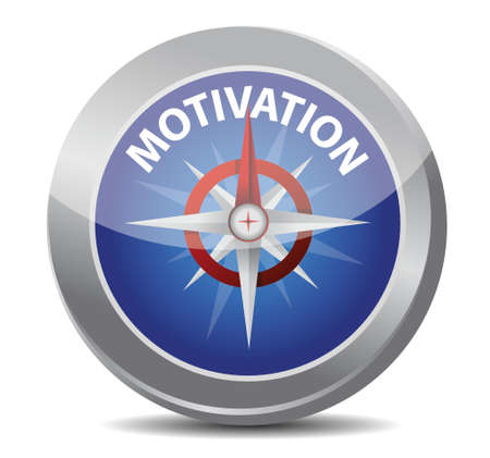 motivation red word indicated by compass illustration design over white