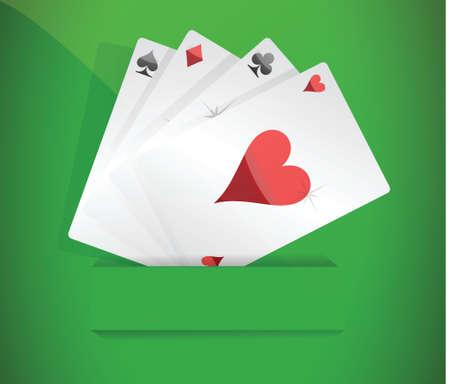 poker hand: A winning poker hand of four aces illustration design over white Illustration