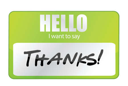 nametag: Hello I Want To Say Thank You dise�o ilustraci�n