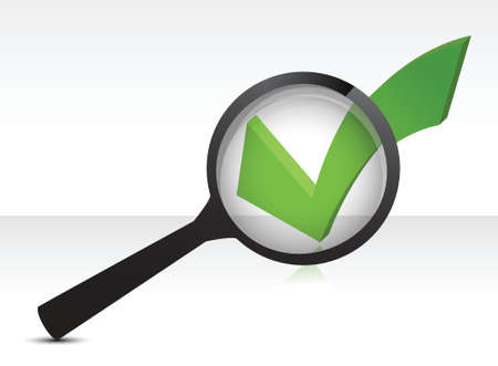 good looks: green checkmark and magnifying glass illustration design over white