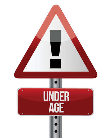 underage: road traffic sign with an under age illustration design Illustration