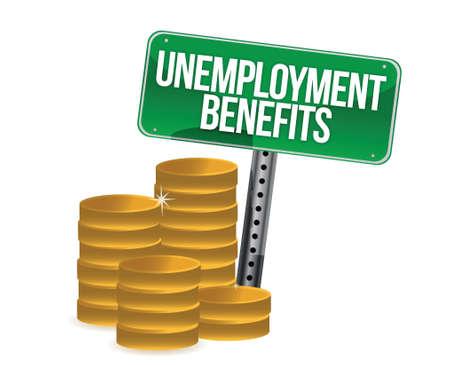 unemployment: Las prestaciones por desempleo monedas dise�o ilustraci�n sobre blanco