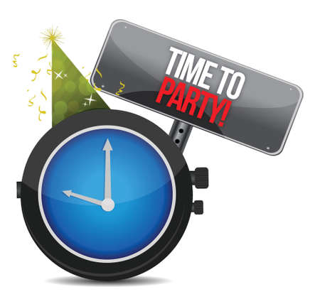 White clock with words Time to Party illustration design over white Vector