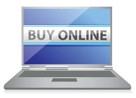 buy online or ecommerce concept illustration design over white