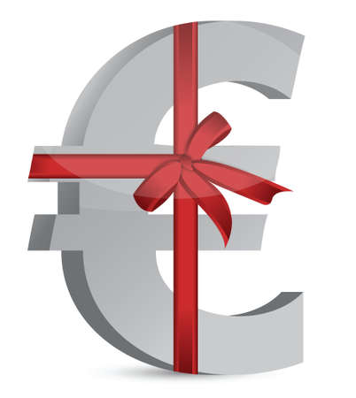 euro currency symbol and ribbon illustration design over white Stock Vector - 17539597