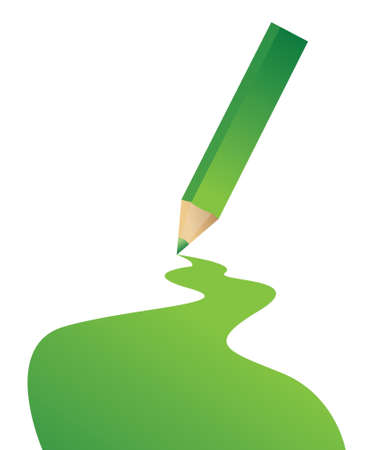 green pencil and color line illustration design over a white background Stock Vector - 17539462
