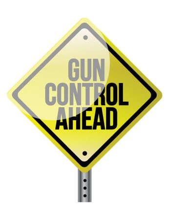 gun control: Caution Sign About Gun Control illustration design over white