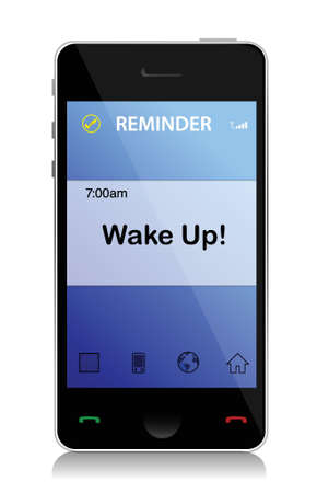Wake up cell message illustration design over white Stock Vector - 17539469