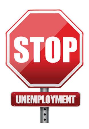 unemployment: Se�al de tr�fico parada de desempleo, ilustraci�n, dise�o, encima, blanco